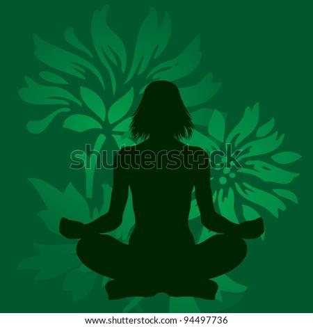 Green yoga meditation - stock photo
