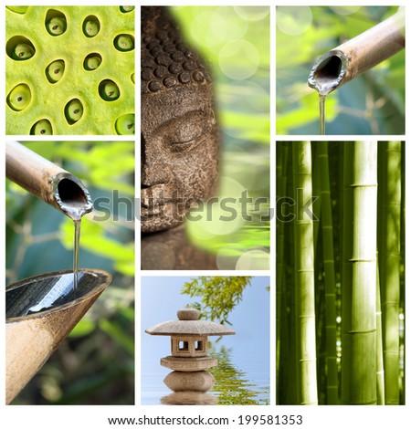 Green zen asia collage - stock photo