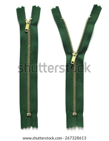 green zipper isolated on white - stock photo