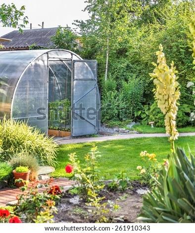Greenhouse in back garden with open door - stock photo