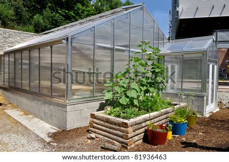 Greenhouse in garden center - stock photo