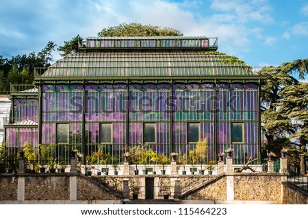 Greenhouse in the Garden of plants in Paris, France (Jardin des plantes) - stock photo