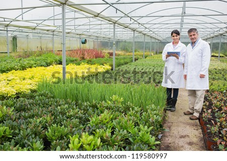 Greenhouse workers standing with a tablet pc in the nursery - stock photo