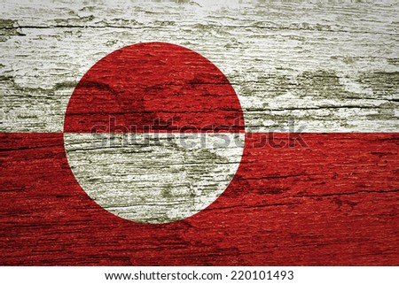Greenland Flag painted on old wood texture - stock photo