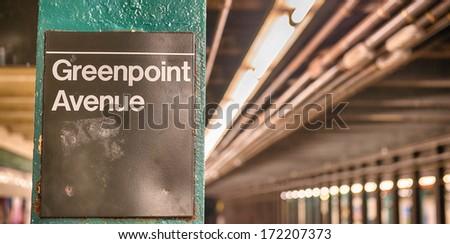 Greenpoint Avenue Subway station interior in New York City - stock photo