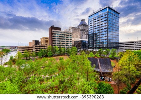 Greensboro, North Carolina, USA downtown skyline. - stock photo