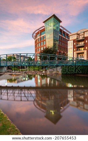 Greenville South Carolina Downtown Falls Park Sunrise Scenic - stock photo