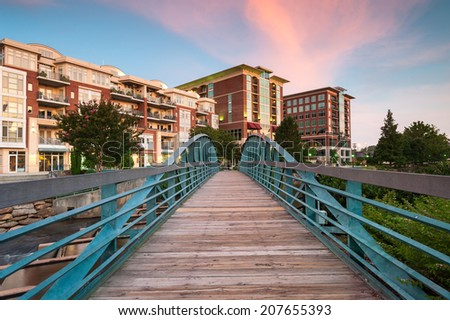 Greenville South Carolina Swamp Rabbit Trail Downtown Falls Park Sunrise Scenic - stock photo