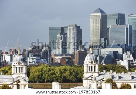 Greenwich and the Financial Center of London, England, Europe - stock photo