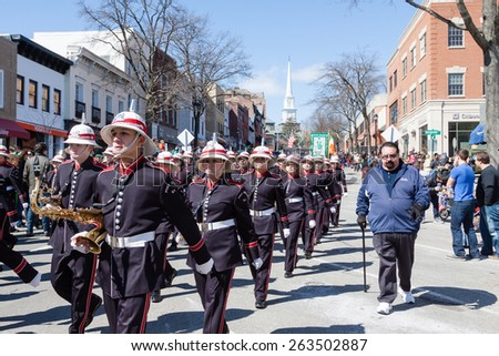 """Greenwich, CT, USA - March 22, 2015: The individuals are some of the many participants in the  """"Annual St. Patrick's Day"""" parade held on March 22, 2015 in downtown Greenwich Connecticut.  - stock photo"""