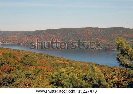 Greenwood Lake Hudson Valley NY autumn vista - stock photo