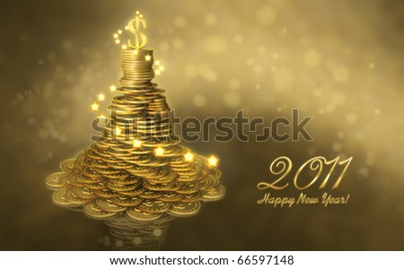 Greeting business card  with the New Year. Mound of gold coins as a Christmas tree decorated with lights and a dollar sign on the top - stock photo