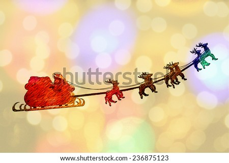 Greeting card cover of Santa Claus riding a sleigh led by reindeers - stock photo