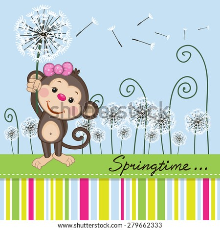 Greeting card Cute Monkey with dandelion on a meadow  - stock photo