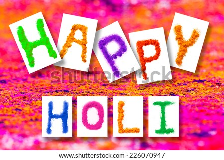 Greeting card design for Indian color festival - stock photo