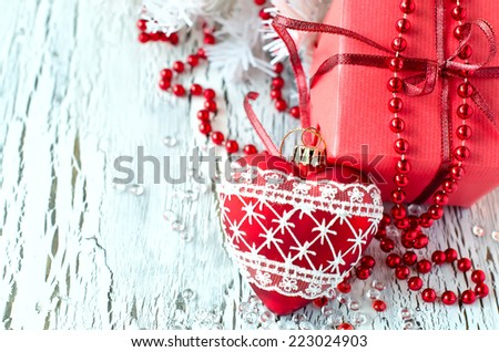 greeting card for xmas on white wooden background - stock photo