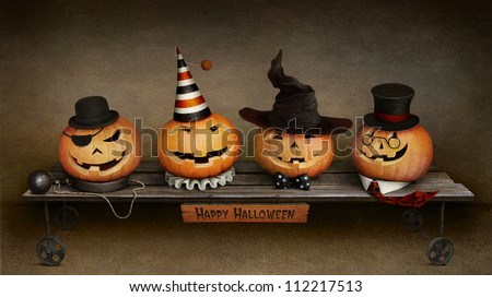 Greeting card Happy Halloween, four friends on trolley. - stock photo