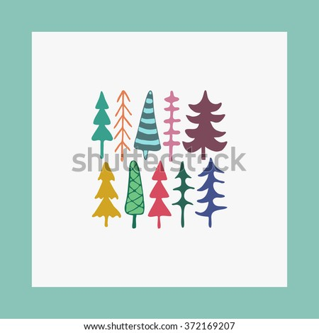 Greeting card  illustration fir christmas trees. Happy New Year card. Winter holidays. Child drawing style trees. - stock photo