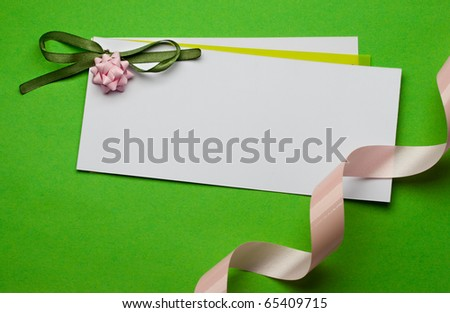 Greeting card isolated on green - stock photo