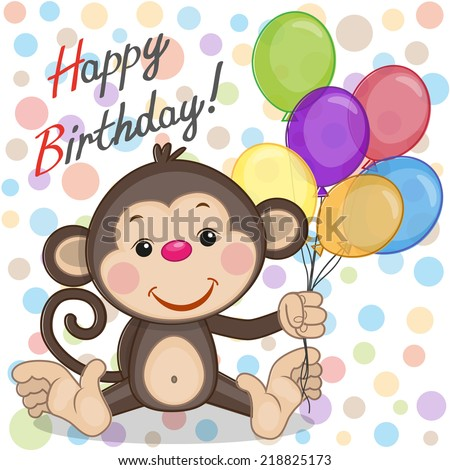Greeting card Monkey with balloons - stock photo