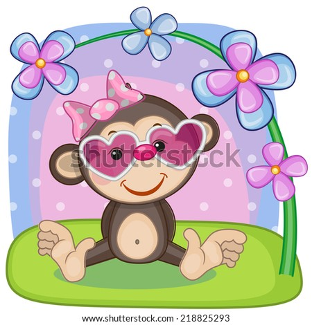 Greeting card Monkey with flowers - stock photo