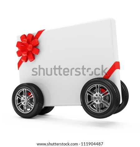 Greeting Card on Wheels isolated on white background - stock photo