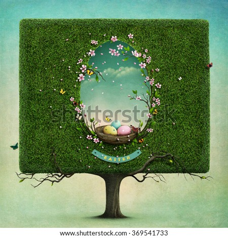 Greeting card or illustration of Easter with  square tree  and nest in hole in shape of an egg - stock photo