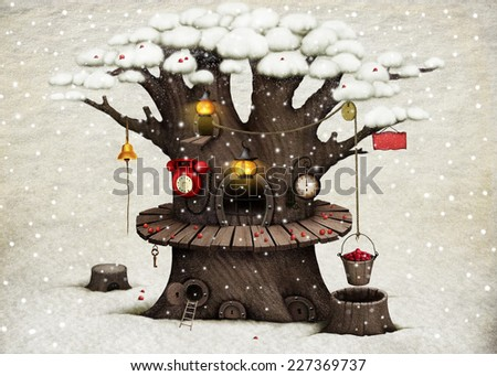 Greeting card or illustration with  large living tree warehouse - stock photo