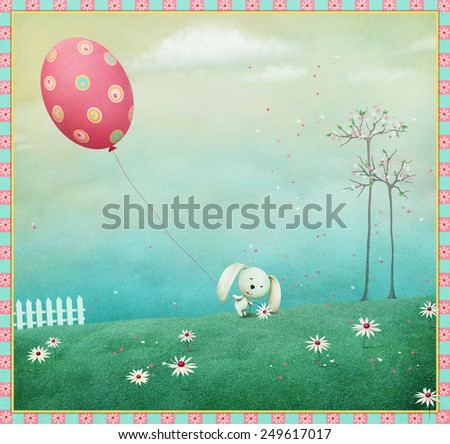 Greeting card or poster Happy Easter - stock photo