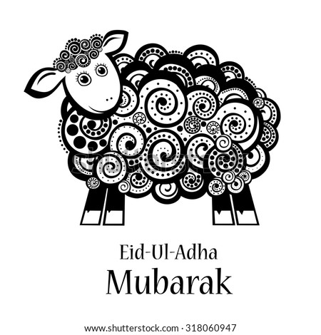 Greeting card template for Muslim Community Festival of sacrifice Eid-Ul-Adha with sheep.  Illustration  - stock photo