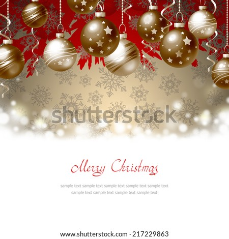 Greeting Card with Christmas balls and place for text - stock photo