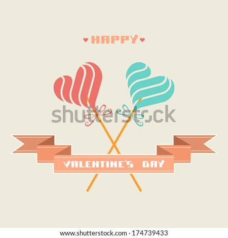 Greeting card with color candy in shape of hearts, banner, inscription - Happy Valentine's Day. Decorative illustration. Hipster concept of couple for print, web - stock photo
