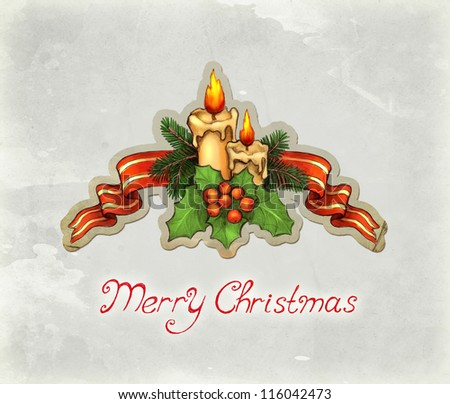 Greeting card with drawing of candle and holly berry - stock photo