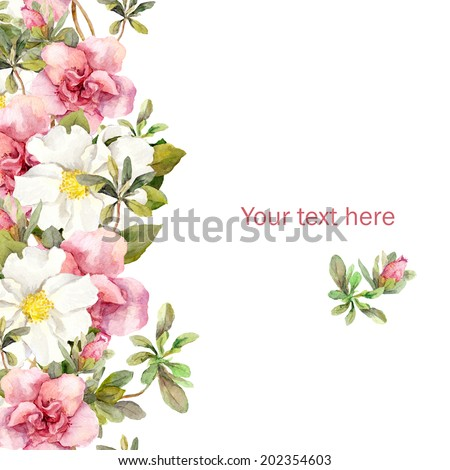 Greeting card with floral border - pink and white flowers. Aquarel - stock photo