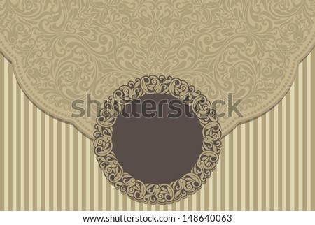 Greeting Card with Flowers in a folk style - stock photo