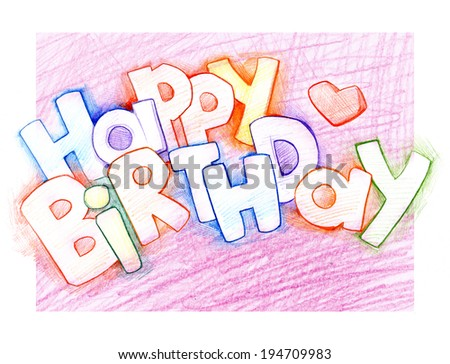 Greeting card with Happy Birthday text  - stock photo