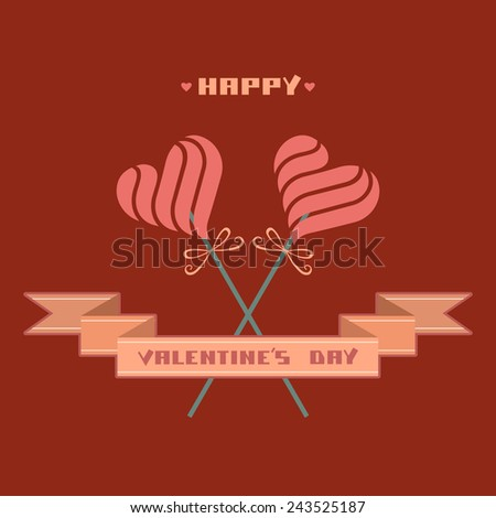 Greeting card with heart candy, banner. Valentine's day, wedding decorative illustration. Hipster concept of couple for print, web - stock photo