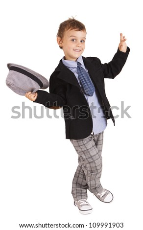 Greeting cool pretty stylish little boy isolated on white background - stock photo