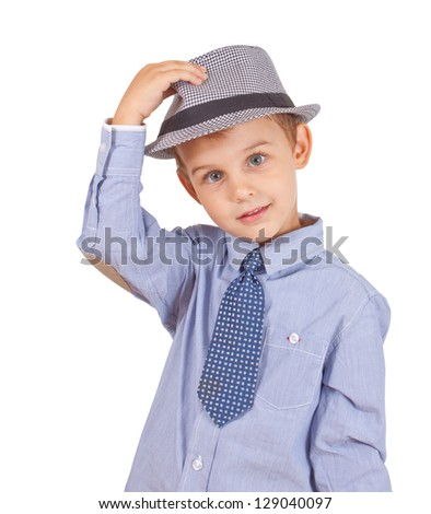 Greeting cool pretty stylish little boy isolated on white background.  Clipping paths included. - stock photo