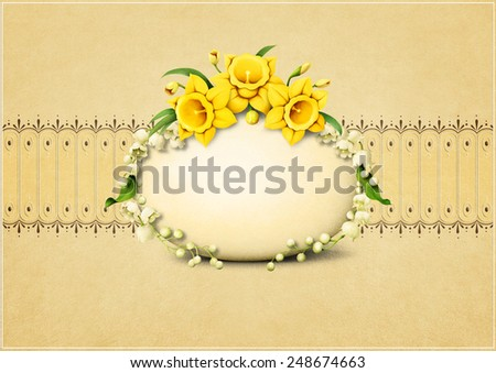 Greeting Easter card with eggs and flowers - stock photo