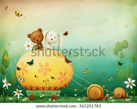 Greeting Easter card with yellow  egg and snails.  - stock photo