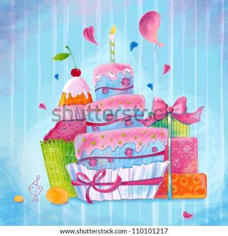 Greeting illustration depicting the cake, all sorts of sweets chicken made ??in bright colors - stock photo
