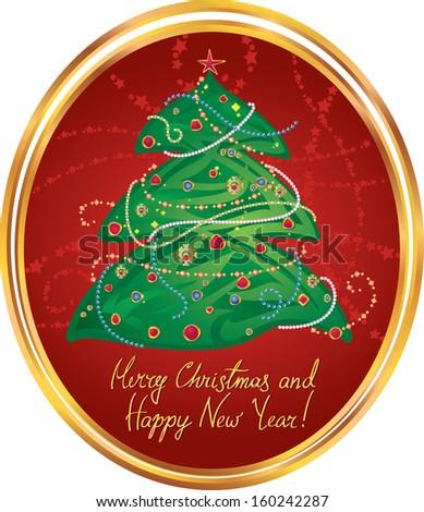 Greeting illustration for winter holidays. - stock photo