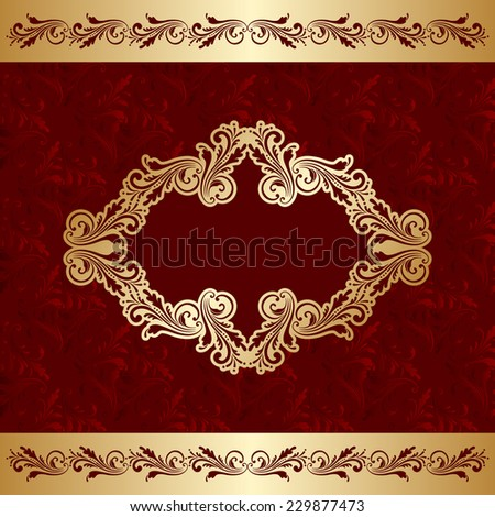 Greeting or invitation card with vintage floral frame and place for text. Raster version. - stock photo