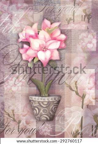 Greeting postcard flower. Beautiful astromeria flower in the pot with pattern, isolated on grunge shabby background for holiday design. Hand painting love card. - stock photo