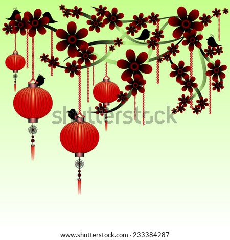 Greeting postcard to the Chinese New Year 2015. Green version. Rasterized illustration - stock photo