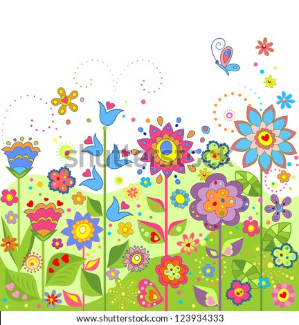 Greeting seamless floral border. Raster copy of vector image. - stock photo