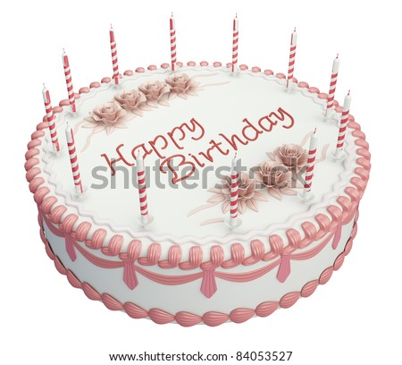 Greetings Birthday cake with candles and roses isolated over white - stock photo