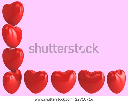 Greetings card with hearts on pink background - stock photo