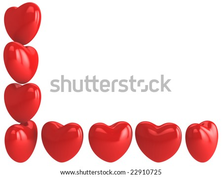Greetings card with hearts on white background - stock photo